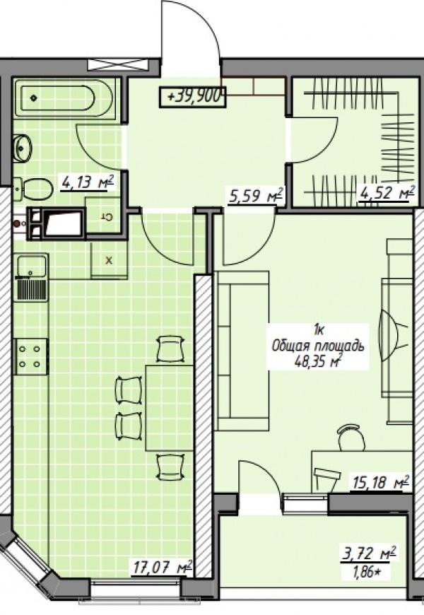 Планировки однокомнатных квартир 48.47 м^2
